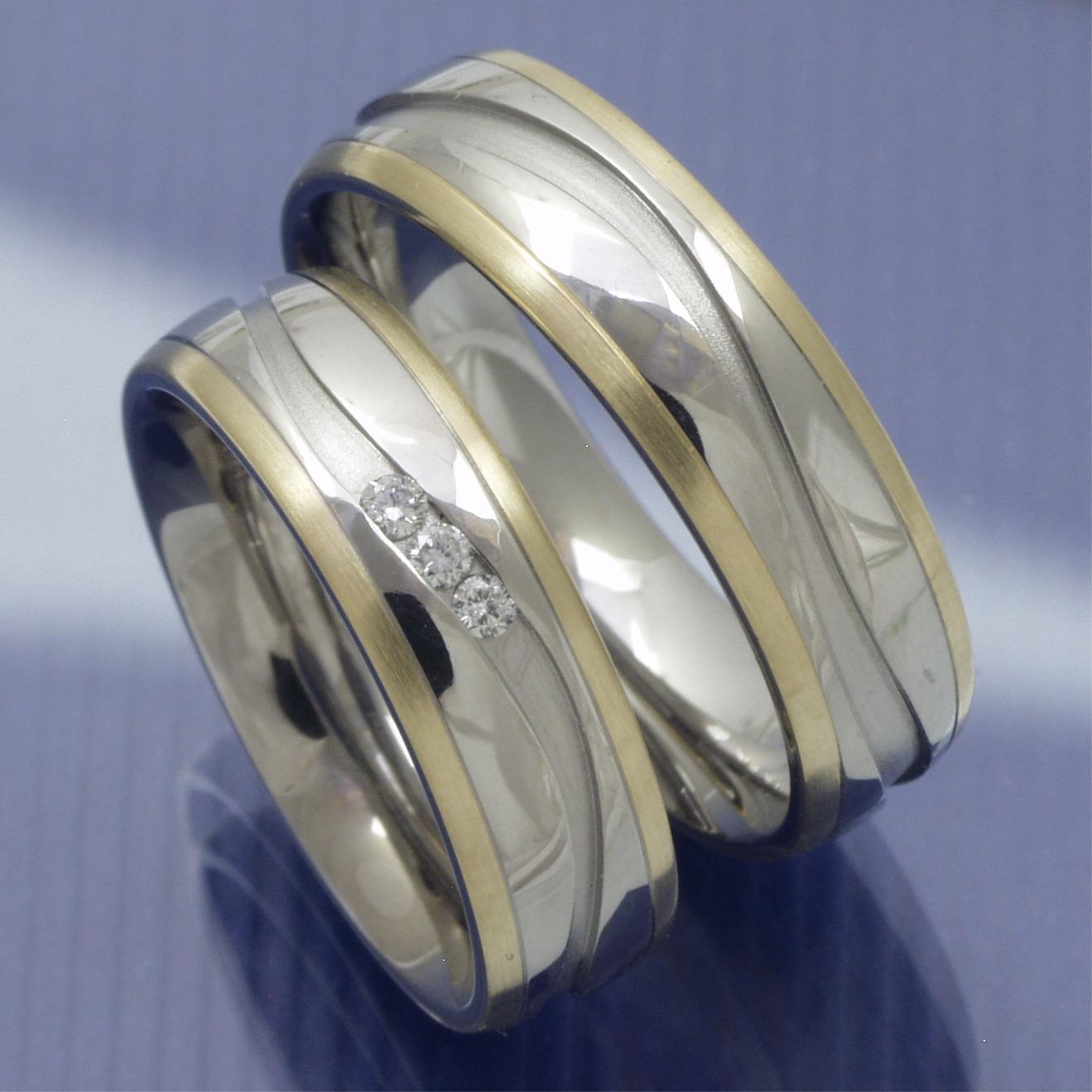 ... Trauringe Stahl Gold » Edelstahl Gold Trauringe - Steel/Gold P3172347