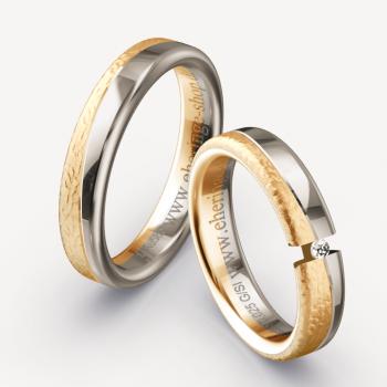 Spannring-Optik Eheringe aus 585 Apricotgold und Graugold