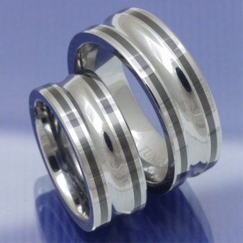 Tungsten Wolfram Bicolor Trauringe Partnerringe P1170974