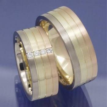Ausgefallene mehrfarbige Trauringe 585 Gold mit Brillanten P9158054