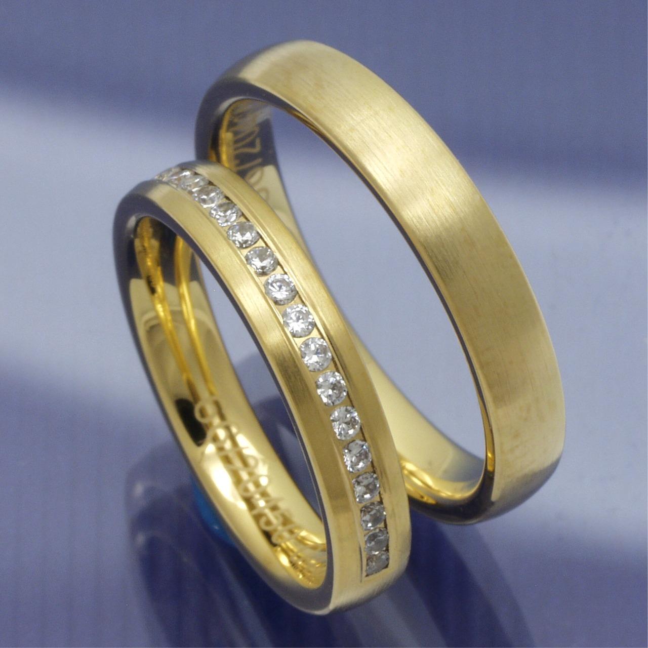 585 Gelbgold Hochzeitsringe Mit 20 Brillanten P1051529