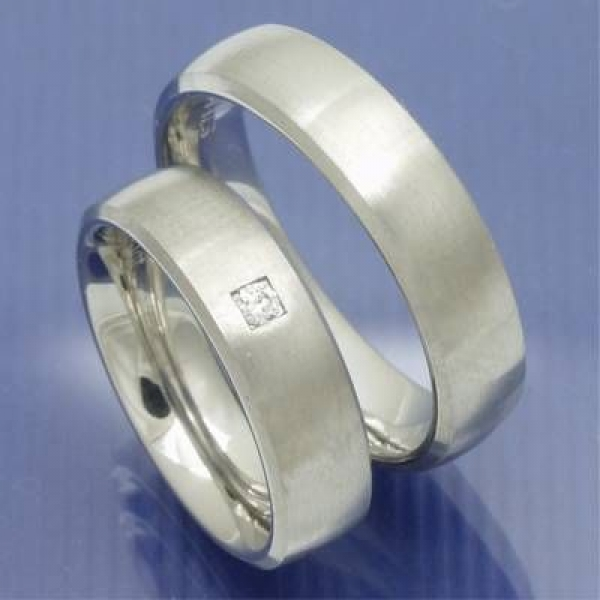 Heiratsringe Serie Steel Brilliance Edelstahl mit Brillant PB099633